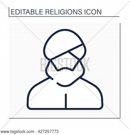 Sikhism Line Icon. Traditional Headdress For Sikhism Religious Believers. Turban. Dastar. Religion C