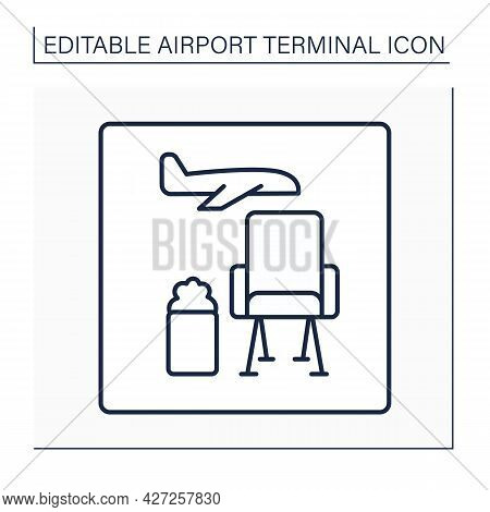 Lounge Line Icon. Waiting Room.pointer. Comfortable And Relaxed Places With Armchairs, Toilets And R