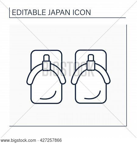 Yukata Shoes Line Icon. Japanese Footwear.geta Wooden Sandals. Japanese Culture Concept. Isolated Ve