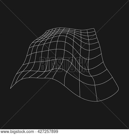 Retrofuturistic Cyberpunk Perspective Liquid Distorted Grid. Cyber Design Element. Distorted Grid In