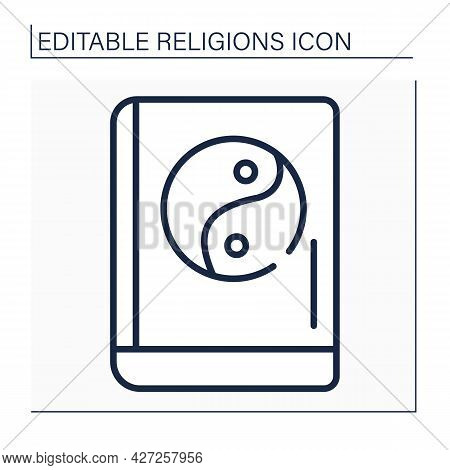 Confucianism Line Icon. Sacred Texts. Book Of Rites. Social Norms Of Society, Rites And Court Ceremo
