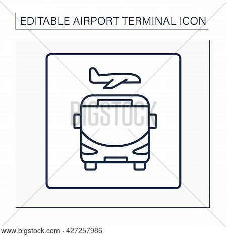 Shuttle Line Icon.shuttle Bus Transports Travelers From One Part Of The Airport To Another. Transfer