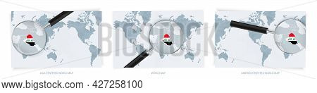 Blue Abstract World Maps With Magnifying Glass On Map Of Iraq With The National Flag Of Iraq. Three