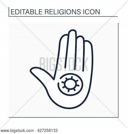 Jainism Line Icon. Jain Dharma. Indian Religious And Philosophical Teaching. Jain Symbol. Religion C