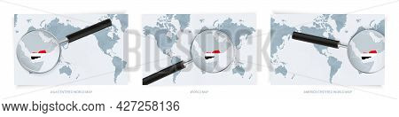 Blue Abstract World Maps With Magnifying Glass On Map Of Yemen With The National Flag Of Yemen. Thre