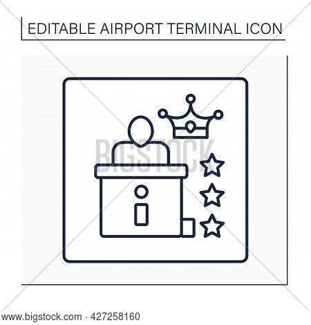 Premium Check-in Line Icon. Pointer.exclusive Check-in Experience In Separate Check-in Lounge. Separ