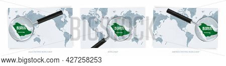 Blue Abstract World Maps With Magnifying Glass On Map Of Saudi Arabia With The National Flag Of Saud