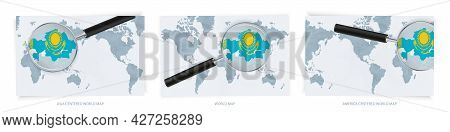 Blue Abstract World Maps With Magnifying Glass On Map Of Kazakhstan With The National Flag Of Kazakh
