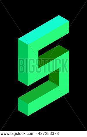 Light Green Number 5 In Isometric Style. Isolated On Black Background. Learning Numbers, Serial Numb