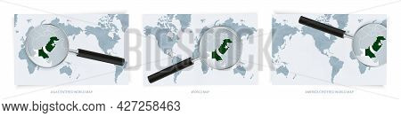 Blue Abstract World Maps With Magnifying Glass On Map Of Pakistan With The National Flag Of Pakistan