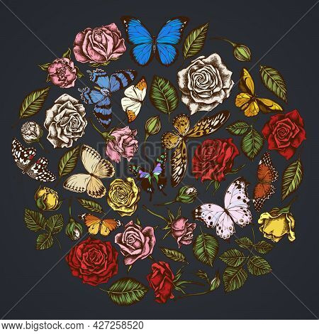 Round Floral Design On Dark Background With Menelaus Blue Morpho, Lemon Butterfly, Red Lacewing, Afr