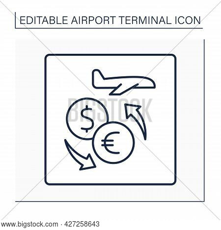 Currency Exchange Line Icon.pointer. Places For Exchange, Sell And Buy Foreign Money. Shop, Kiosk. A
