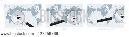 Blue Abstract World Maps With Magnifying Glass On Map Of Thailand With The National Flag Of Thailand