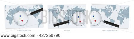Blue Abstract World Maps With Magnifying Glass On Map Of Philippines With The National Flag Of Phili