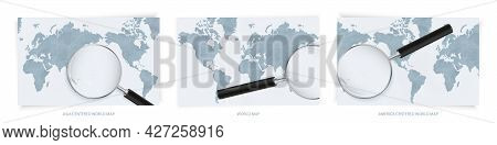 Blue Abstract World Maps With Magnifying Glass On Map Of Nauru With The National Flag Of Nauru. Thre