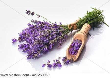 Bunch Of Lavender Flowers Isolated On White Background.