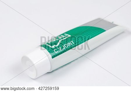 C.v. Joint Grease Pascal Brand On White. A New Tube Of Special Automotive Grease. Pascal Is A Polish