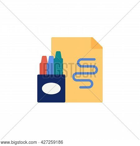 Pen Holder And Note Paper Flat Icon, Vector Sign, Stationery Colorful Pictogram Isolated On White. S