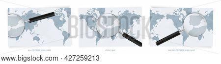 Blue Abstract World Maps With Magnifying Glass On Map Of Gibraltar With The National Flag Of Gibralt