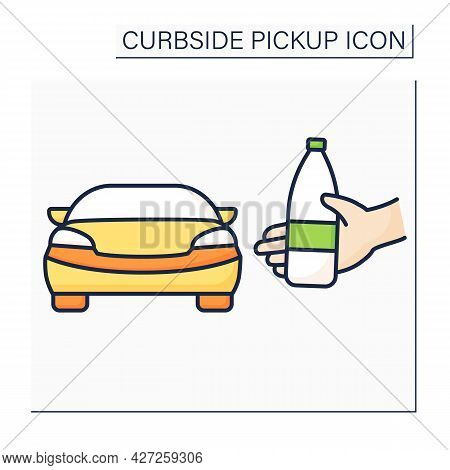 Curbside Pickup Color Icon. Delivery Order Into Customer Vehicle. Pickup Service. Contact-free Deliv