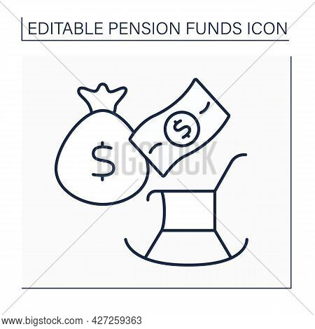 Charges Line Icon. Official Contributions To State Accounts. Percentage Taken Out Every Time Paying.