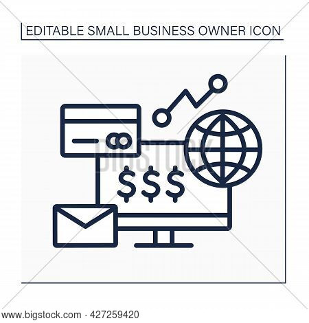 Computer Line Icon. Ecommerce Business. Global Trading. Earning Money On Laptop. Small Business Owne