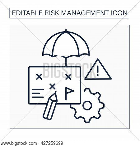 Risk Management Plan Line Icon. Document. Project Manager Prepares To Foresee Risks, Estimate Impact