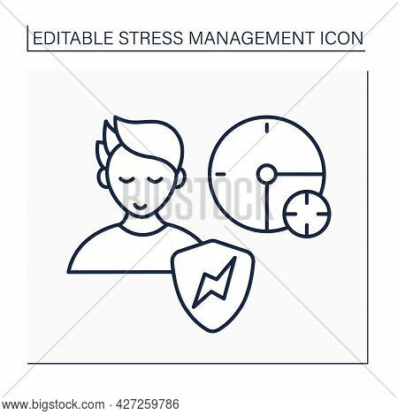 Relieve Stress Line Icon. Learn How To Relax Timely. Reduce Stress. Calm Down. Avoid Stressful Situa
