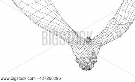 Two Men Shaking Hands. Vector Rendering Of 3d. Wire-frame Style. The Concept Of Friendship, Partners