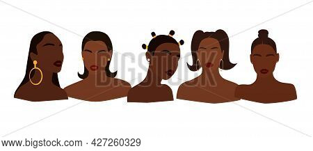Set Of Portraits Of Faceless Women. Collection Of Abstract Black Girls With Different Hairstyles. Tr