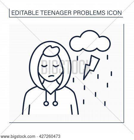 Depression Line Icon. Mood Disorder. Loneliness And Sadness. Avoid Communication. Misunderstanding.
