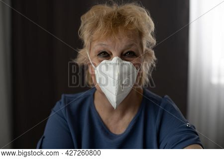 Old Asian Patient Wear Surgical Mask, She Admit In Hospital, She Want To Pollution Protection And Vi