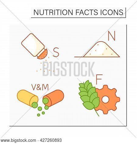 Nutrition Facts Color Icons Set. Vitamins And Minerals, Fiber, Salt.sodium Content. Nutrition Facts