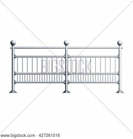 Steel Chrome Railing Exterior Construction Vector. Elegant Stainless Railing, Balcony Or Urban Avenu