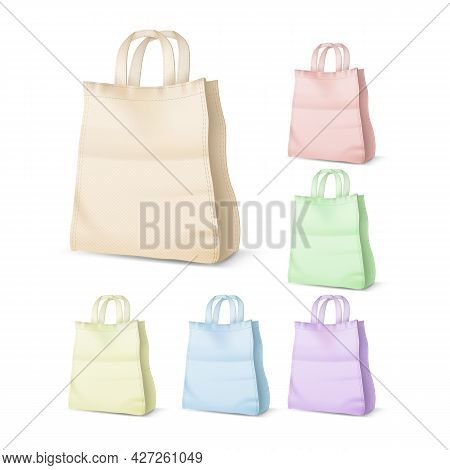 Shopping Bag Different Color Collection Set Vector. Fabric Blank Shopping Bag For Carrying Product O
