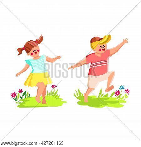 Barefoot Children Running On Flower Meadow Vector. Boy And Girl Kids Run Barefoot On Green Grass Fie