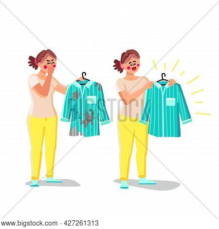 Woman Holding Smell And Washing Clothes Vector. Young Girl With Shirt Smelling Something Stinky And