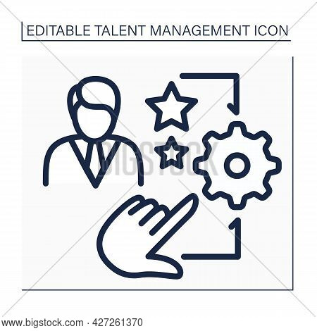 Talent Management Line Icon. Hr Processes To Attract, Motivate, And Retain High-performing Employees