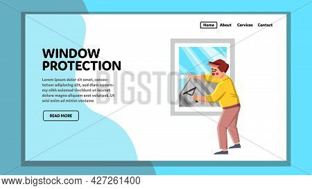 Window Protection Accessory Installing Man Vector. Window Protection Foil Install Young Guy For Prot