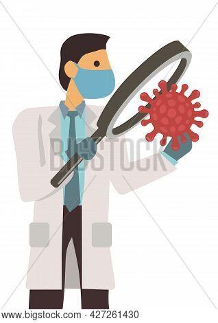 Doctor With Coronavirus 2019-ncov. Corona Virus Outbreaking. Concept Of Epidemic Virus Respiratory S