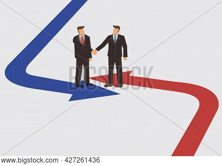 Businessman Handshake From Opposite Direction Arrow. Concept Of Team Work Partnership And Cooperatio