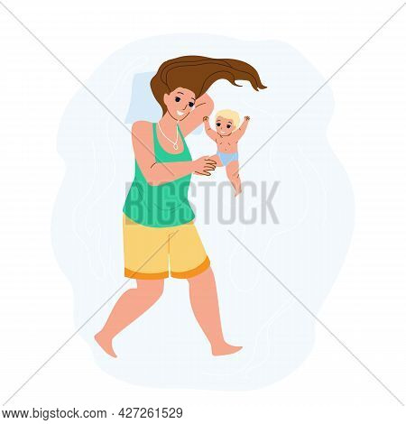 Mother And Newborn Baby Playing Together Vector. Woman Mother And Newborn Toddler Child Having Funny