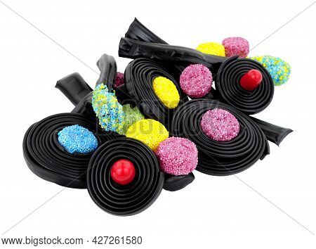 Group Of Novelty Liquorice Sweets Including Catherine Wheels, Spinning Tops And Traffic Lights Isola