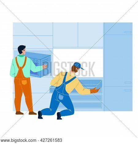 Handyman Workers Install Kitchen Furniture Vector. Professional Serviceman Installing Kitchen Cabine