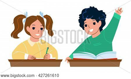 Pupils Boy And Girl Studying At School Desk Vector. Schoolboy Raise Hand For Answering On Question A