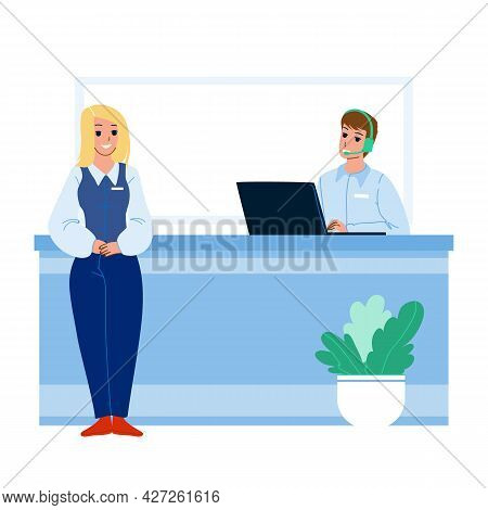 Receptionist Working At Desk In Hotel Lobby Vector. Woman Receptionist Smiling Standing Near Recepti
