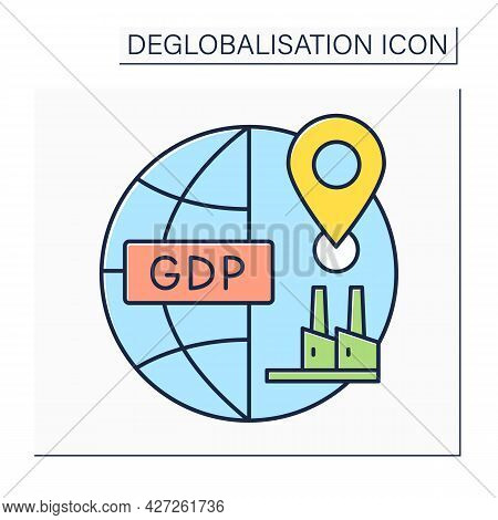 Domestic Production Color Icon. Gross Domestic Product. Gpd. Goods And Services Made In Country. Deg