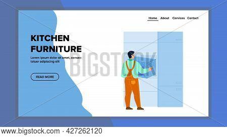Kitchen Furniture Installing Serviceman Vector. Handyman Install Electrical Oven In Kitchen Furnitur