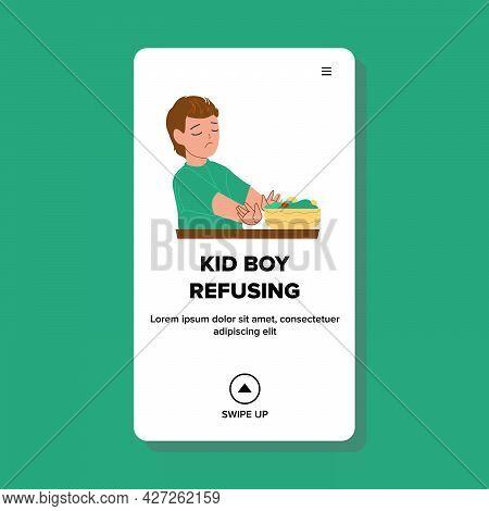 Kid Boy Refusing Vegetarian Salad Food Vector. Sadness Kid Boy Refusing Eating Healthcare Natural Nu