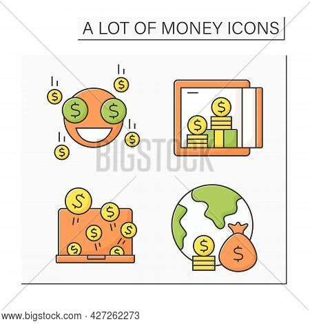 Money Color Icons Set. Global Economy. Investment, Jackpot. Wealth Concept. Isolated Vector Illustra